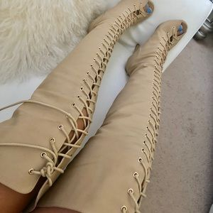 Shoes - Brand new nude boots over the knee